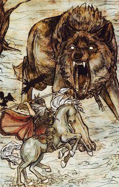 Odin battling Fenrir - by Arthur Rackham                                                                                                                                                      More