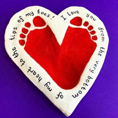 Learning and Exploring Through Play: Valentines Day Salt Dough Footprint Hearts Arts And Crafts For Teens, Art And Craft Videos, Easy Arts And Crafts, Crafts For Seniors, Fathers Day Crafts, Valentine Day Crafts, Toddler Art, Toddler Crafts, Baby Crafts