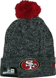 half off 6e2b0 3350d San Francisco 49Ers New Era NFL Team Bobble Hat. Graphite Grey cable knit  with the