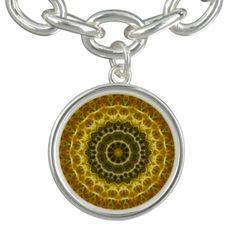 Golden yellow fractal filtered mandala pattern.