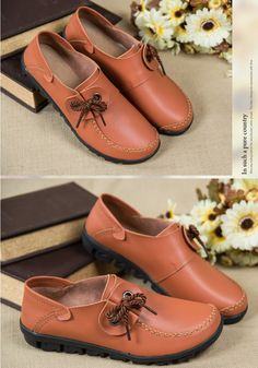 Women's casual #brown genuine leather #slipon shoes lace decorated design, Round toe, Doug bottom shoes.