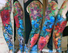 vivid floral full sleeve tattoo