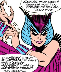 Deathbird of the Shi'ar (X-Men enemy) (classic Marvel Comics) reaching for her bracers. From http://www.writeups.org/deathbird-shiar-x-men-marvel-comics-classic/