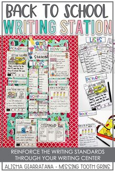 This first grade writing station is so much fun for the back to school season. Students love to pick their writing piece from the menu board. The set up is easy and students can use the board easily too #firstgradewritingcenter