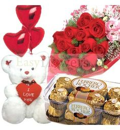 Dozen Red Roses bouquet with a 16 pcs Ferrero Rocher pack and a Small teddy bear (6 inch). #EasyFlowers #ChennaiFlowersDelivery