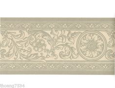 French Damask Grey Cream Scroll Acanthus Leaf Floral Medallion Wall paper Border