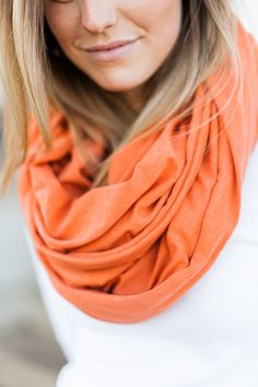 Heather Orange Oversized Soft Blanket Infinity Scarf from #givehersix #gbo #govols