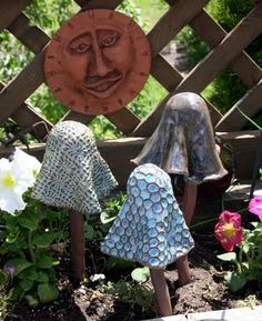 These handcrafted clay mushrooms are both garden art and chimes (if put close enough together)!