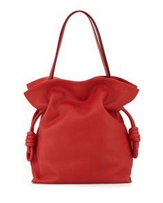 Flamenco Knot Bucket Bag, Red by Loewe at Neiman Marcus.