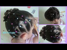 Peinados Faciles Para Niñas/con liguitas y trenza/Abi Vargas - YouTube