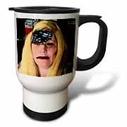 A Blonde Halloween Wig on a Woman With Part of Her Skull Cut Out and Electrical Post Inside Travel Mug