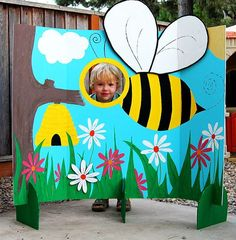 A Bumble Bee Photo Station The twins birthday is only a month away and I've been party planning. Here's one of the projects I've been working on. Now to keep it away from them for the next month so it doesn't get broken, painted on or crushed. Bee Photo, 1st Birthday Parties, 4th Birthday, Photo Booth, First Birthdays, Kids Crafts, Ear Headbands, Group Photos, Craft Kids
