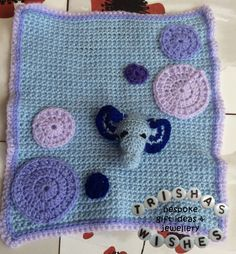 Elephant snuggle comforter made in baby blues and purples