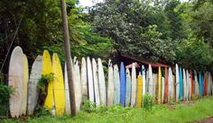 Surfboard fence in Hamakuapoko Ahupua'a, Paia, Hawaii