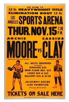 Archie Moore vs Cassius Clay original onsite poster. Muhammed Ali.