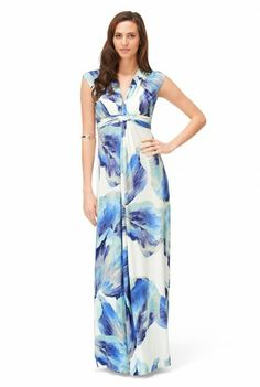 Aqua Flower Print Maxi Dress at Long Tall Sally, your number one fashion retailer for tall women's clothing #tallfashion #tallwomen #tallgirl
