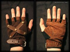 cut and embellish brown leather gloves for a steam punk look