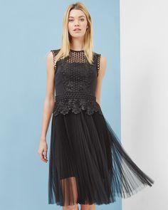 Lace pleated mesh dress - Black | Dresses | Ted Baker