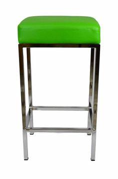 Ernest Bar Stool - Green with chrome frame