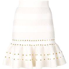 Alexander McQueen fluted mini skirt ($1,645) ❤ liked on Polyvore featuring skirts, mini skirts, white, mini skirt, white eyelet skirt, high waist skirt, high rise skirts and short mini skirts
