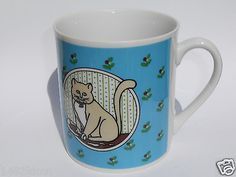 K Knoplep Coffee Mug Cat Kitten Floral Turquoise White Porcelain Made in Japan Кружки и чашки