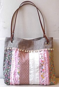 tote bag - patchwork, eyelet, leather straps, pom pom and ruffles