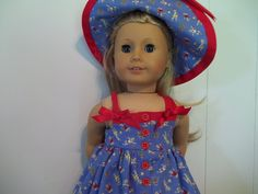 American Girl Summer fun sundress and hat. by MarshasMiniatures on Etsy