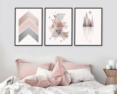 Trio of matching printable art in blush pink and grey downlo Pink Gray Bedroom, Grey Bedroom With Pop Of Color, Gray Bedroom Walls, Accent Wall Bedroom, Grey Walls, Bedroom Decor, Wall Decor, Gris Rose, Geometric Decor