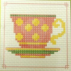 Pink Tea Cup - Semco easy-to-do counted cross-stitch kit in Cross Stitch Boards, Mini Cross Stitch, Cross Stitch Needles, Simple Cross Stitch, Cross Stitching, Cross Stitch Embroidery, Cross Stitch Designs, Cross Stitch Patterns, Pink Tea Cups