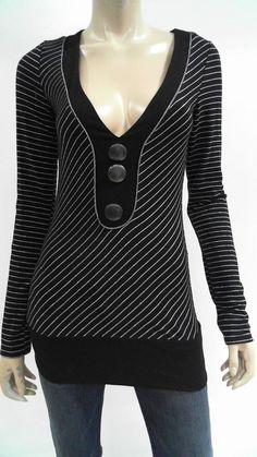Daytrip Womens M Knit Shirt Top Pull Over V-Neck Banded-Hem Stripe CHOP 3SKGz1 #Daytrip #KnitTop #Casual