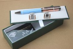 new style Special Blue and rose gold ballpoint pen and Cufflinks Set Luxury Gift Box