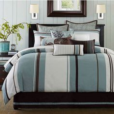 Chocolate Brown and Blue Bedding Sets Brown comforter Queen size