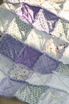 Shabby Chic Baby Girl Rag Quilt Lavender Nursery