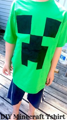 DIY Minecraft Creeper T-shirt tutorial - this EASY no frills tshirt costs only a few bucks to make and less than half an hour! Perfect for my Minecraft obsessed boys!