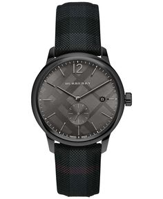 Burberry Men's Swiss The Classic Round Dark Gray Fabric Strap Timepiece 40mm BU10010