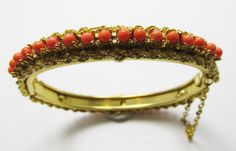 Vintage 1960s Gold Toned Faux Coral Bangle by GildedTrifles