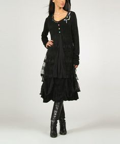 Take a look at this Black Flora Dress by Charlotte & compagnie on #zulily today!