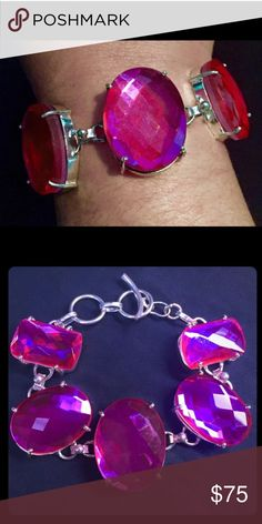 """Pink Fire Mystic Topaz Sterling Silver Bracelet Pink Fire Mystic Topaz Sterling Silver BraceletAbsolutely stunning! This bracelet is a showstopper. Stamped .925 and measuring 7.5"""" long with a toggle clasp, the bracelet features bezel Pink Fire Mystic Topaz faceted gemstones which are the fabulous hot pink hue. Vintage Jewelry Bracelets"""