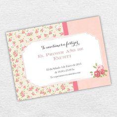 Invitación Imprimible Cumpleaños Shabby Chic Rosa Niña. By Invitation Only Shop…