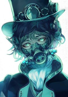 Steampunk cool anime guy with blue gas-mask, pretty insane^^ Manga Anime, Manga Boy, Anime Art, Dark Anime, Mascara Anime, Character Inspiration, Character Art, Yuumei Art, Illustration Tattoo