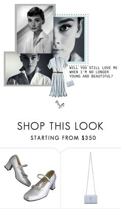 """Audrey Hepburn"" by shyyypieee ❤ liked on Polyvore featuring Chanel, BCBGMAXAZRIA, Yves Saint Laurent, vintage, classy, shirtdress and audreyhepburn"