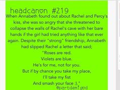Why everybody goes hatin on perachel.  I Argo2 perachel. I probs lost like every follower after I said dat but I just joking. I ship percabeth and this is hilarious.