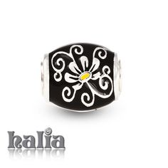 Scent of a Woman: Sophisticated floral bead in black enamel on sterling silver: designed exclusively by Halia, this bead fits other popular bead-style charm bracelets as well. Sterling silver, hypo-allergenic and nickel free.       $42.00