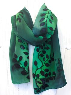 Green Silk Scarf Japanese. Silk Scarves Takuyo. Emerald Green Leaves. Floral Silk Scarf. Silk Crepe. Silk Dye. 8x50. Made to Order.. $80.00, via Etsy.