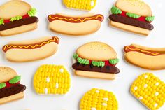 These BBQ Cookies are sugar cookies decorated with royal icing. This tutorial will show how to make and airbrush these cookies for any summer BBQ or picnic.