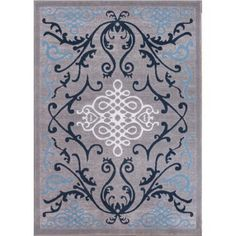 Well Woven Dulcet Papaya Formal Area Rug, Blue