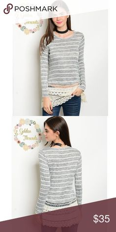 7240d7d564c ✨Gray Striped Long sleeve top with Lace  Crochet JUST IN! 💥 Casual Chic  Gray Striped Long sleeve top with Lace Accent Sizes   S M L Sweaters