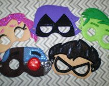 Teen Titans Go Inspired Felt Masks..Superheros... Great for Birthday Parties, Dress Up, Costume Party, Halloween
