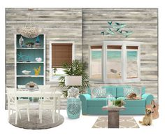 Sea-Inspired Interior by prettyposh on Polyvore featuring interior, interiors, interior design, home, home decor, interior decorating, Joybird Furniture, Calvin Klein, Jill Rosenwald and Seasonal Living