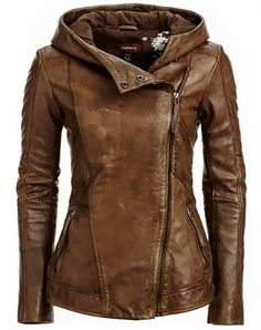 Hooded Leather Jacket. Usually I don't like the zipper to the side, but this is sweet
